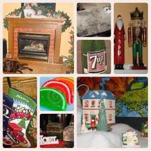 Fireplace, sugary bits, halvah, stockings, 7 up, Christmas village, memories