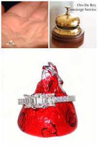 Oro de Rey concierge service engagement ring, emerald cut, Hershey Kiss