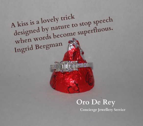 Chocolate kiss with Oro de Rey diamond ring surrounding it