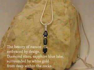 saphhires, white gold, pendant, diamonds, custom design