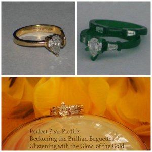 heirloom pear shaped diamond ring transformed, baguettes, resulting treasure