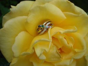 yellow rose, family ring, peridot, sapphire, ruby, aquamarine, emerald, diamond, blue zircon, white gold