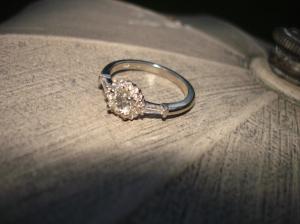 engagement ring, gold, diamonds