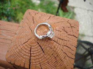 diamond engagement ring on fence post, Oro de Rey engagement ring