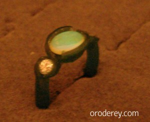 Wax mould, diamond and opal, engagement ring, custom design, oro de rey, winnipeg jeweller