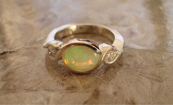 custom design,opal diamond engagement,  oro de rey, winnipeg jeweller