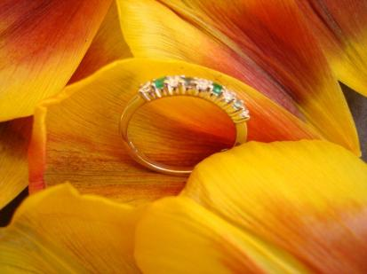 alexandrite, zircon, emerald family ring