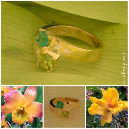 Family heirloom peridot and emerald with diamonds set in gold family ring