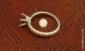 Brilliant diamond, diamond studded shank, gold engagement ring, oro de rey