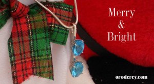 Blue topaz, Merry Christmas from Oro de Rey, White gold pendant, Gold of the King, Christmas Present